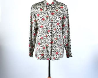 Rose and Jaguar Print Silk Blouse by Anna and Frank, Size Small, 100% Silk,