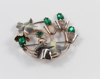 Vintage Sterling Glass Brooch Art Deco Flower Brooch - Pin - Emerald Green Sterling Silver Gift for Her