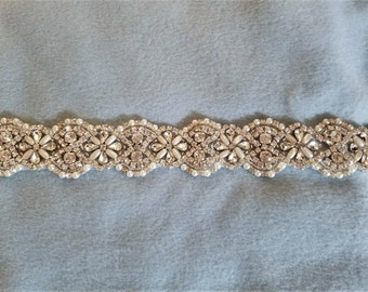 Wedding Bridal Sash Belt, CRYSTAL Pearl Wedding Sash Belt