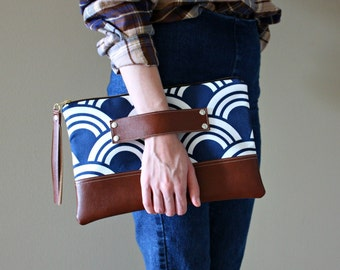 Blue and White Geometric Clutch / Kindle Case / Hand Handle