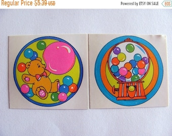 SALE A Pair of Vintage Rainbow Teddy Bear Bubble Gum Machine Stickers - 80's Vibrant Colorful Neon Bubblegum Scrapbook Collage