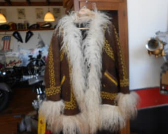 Great gold Embroidered brown Afghan coat white Curly sheepskin trim