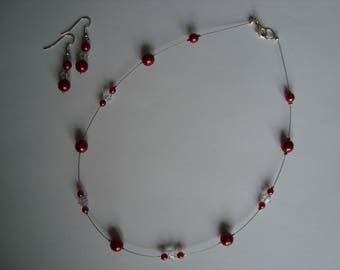 Jewelry set and simple red and transparent