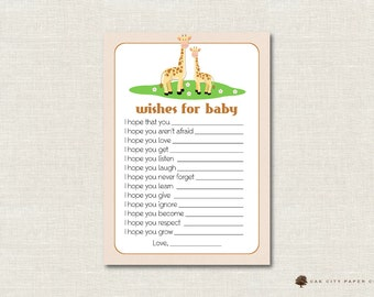 Giraffe Wishes for Baby Card, Wishes for Baby, Well Wishes for Baby, Safari Wishes for Baby, Baby Shower Wishes for Baby, Jungle Animal
