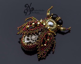 Brooch cicada ammonite and pyrite. Beadwork animals brooch. Bead embroidered brooch gemstone jewelry. 60 mm