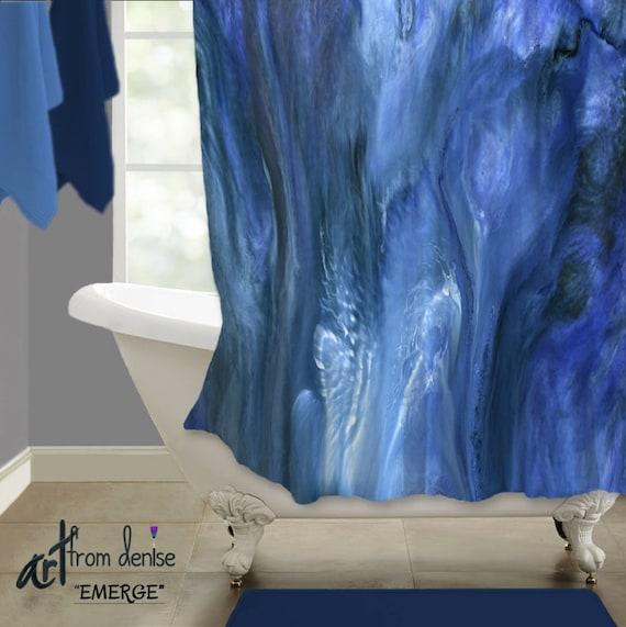 navy blue shower curtain blue gray bathroom decor abstract. Black Bedroom Furniture Sets. Home Design Ideas