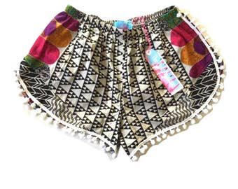 Monochrome Tribal Print Pom Pom Shorts