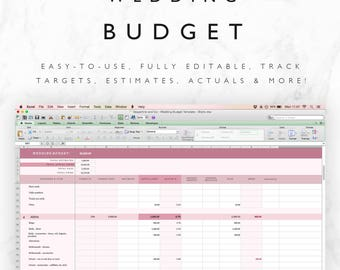 Wedding Budget Tracker Template - Excel Spreadsheet PLUS budget checklist! - Fully Editable! - Instant Download - Wedding Planning Template