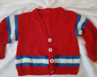 Hand knitted red white and blue stripe cardigan