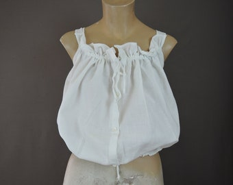 Vintage White Cotton Camisole Corset Cover, 36 bust, Antique 1900s Edwardian Lingerie