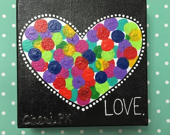 "LOVE.  Original Acrylic Painting - 6"" X 6"" x 1.5"""