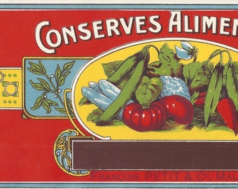 Conserves Alimentaires (Canned Food) Vintage Belgium Can Label, 1940s