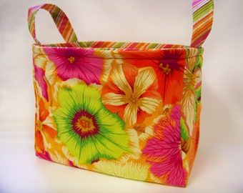 PK Fabric Basket in Petunias in Orange - Ready To Ship - Washable - Reversible