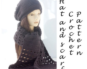 Hat  and Scarf Crochet Pattern, Instant Download, Two PDF Patterns,  Slouchy Hat Pattern, Winter Scarf Pattern,