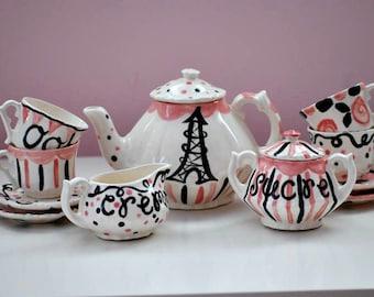 Paris tea party Tea Set --  Personalized Little Girl's Tea Set. . . Ooh La La. . .Personalized Tea Set and 4 Matching Tea Cups