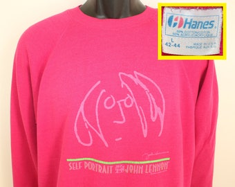 John Lennon Self Portrait vintage sweatshirt Short M pink 80s The Beatles Hanes