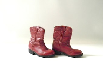 Vintage Toddler Red Leather Justin Boots