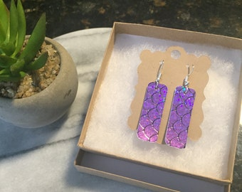 Mini purple patent shimmer with black design leather bar earrings 2 inches