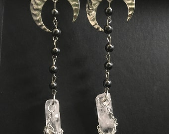 Luna dropped clear crystal chained earrings
