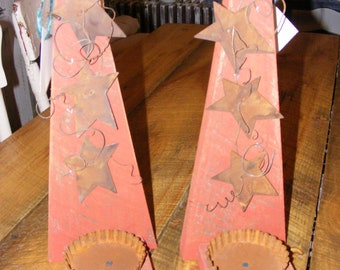 pair of rustic antique red, wall sconces