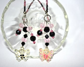 ON SALE! 20% OFF! Goth Enamel Pink and Black Butterfly Themed Beaded Bookmark Gorgeous Colors Gift for You or a Friend