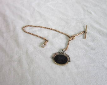 Wonderful Antique Victorian Pocket Watch Chain with Carved Onyx Roman Soldier Cameo
