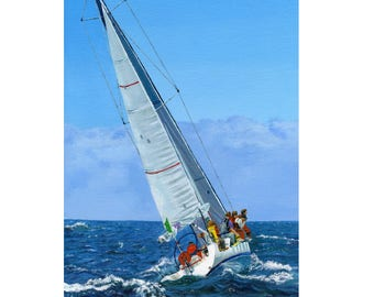 Sailing yacht, Yacht racing, Wall art, Boat print, Sailing Gift, Yacht and surf, Sails, Blue skies print, Small to large prints, Yachties