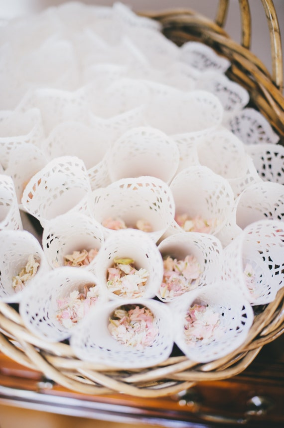 Confetti cones wedding decor lace paper wedding like this item mightylinksfo Image collections