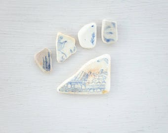 FOLIAGE PATTERNED SEAPOTTERY | Blue and white | Genuine English seapottery | Jewelry making cabochons | Ocean ceramic cabochon | Floral leaf