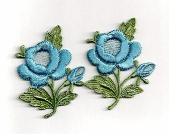 Sky Blue Roses: Vintage Sew-On Embroidered Appliques - Set of 2 New Old Stock Appliques