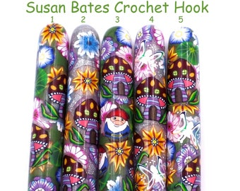 Crochet Hook Fairy Garden, Polymer Clay Covered Susan Bates Crochet Hook, Ergonomic Crochet Hook,Pumpkin, Flowers, Enchanted Forest