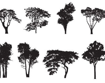 Set of 8 trees - Temporary tattoos