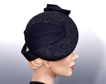 Women's Vintage Hat Percher Black Straw Tilt - Wrapped Ribbon Trim and Bows - Film Noir 1940's