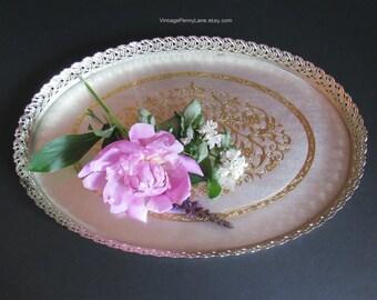 Vintage Vanity Tray, Brass Filigree / Glass Tray, Dresser Tray