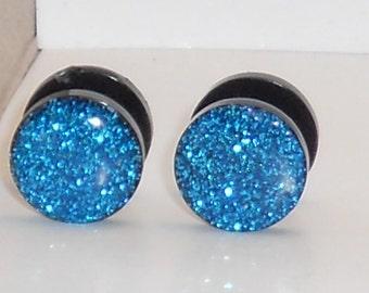 Aqua Blue Glitter Fake Plugs