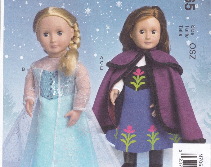 "FREE US SHIP McCalls Craft 7065 18"" Doll Costume for American Girl size Dolls Uncut New Frozen Dress Cape Boots Shoes"