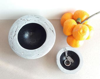 Rustic Catchall, Concrete Bowls, Set Of Two Bowls,  Cement Plate, Beton Plates, Rustic Home Decor, Rustic Style Gift