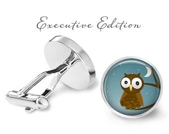 Owl Cufflinks - Night Owl Cuff Links - Owl Cufflink - Bird Cufflinks (Pair) Lifetime Guarantee (S0771)