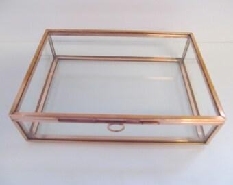 4 x 6 Glass and Copper Box,  Photo Box, Jewelry Box, Memory Box, Keepsake Box, Wedding, Anniversary