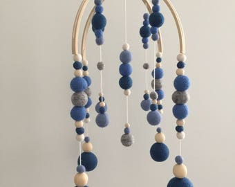 Blue Felt Ball Baby Mobile - Custom option available