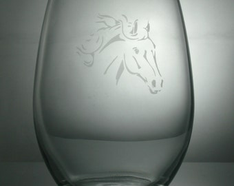 horse etched glass, etched wine glass, customized wine glasses, stemless wine glass, horse etched wine glasses,