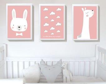 Set of 3 Prints,nursery print, Pink color Nursery art prints , baby nursery decor ,nursery wall art, Children Art - Kids Room