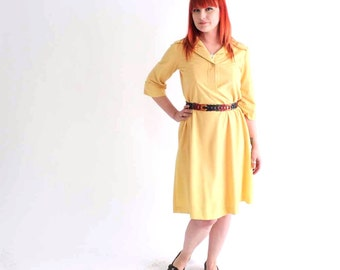 butter yellow ultrasuede dress - vintage 1970s knee length dress - womens large / 70s ultra suede dress