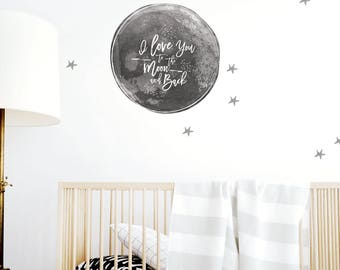 Kids Wall Decal / Star Wall Decals / Removable Wall Decals / Kids Room Decals / Wall Decals / Moon/ Gray. To the Moon and Back Wall Decal