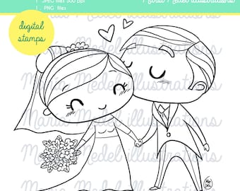 Married couple kissing, wedding digital line art stamp for scrapbooking, card making, DIY wedding