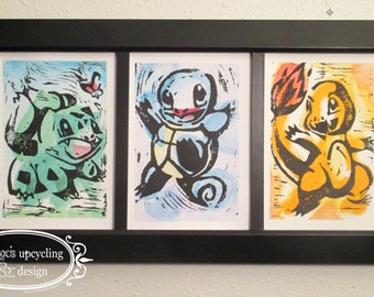 Pokemon Starters: Bulbasaur, Charmander, Squirtle.  Generation 1 Starter Trio 5 x 7 Water Color and Ink Paintings