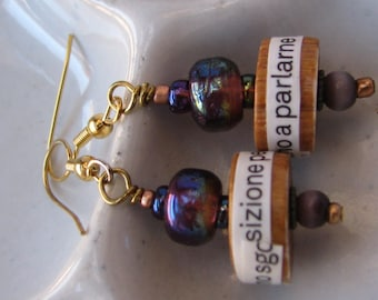 Italian text earrings with purple beads