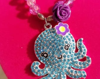 little girls neacklaceTurquoise with a pendant ocatapus.turquise sparkly girls birthday gift