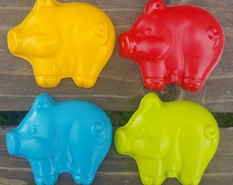 Jumbo Pig Crayons set of 5 - Farm Crayons - Party Favors