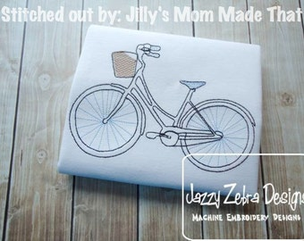 Bicycle Sketch Embroidery Design - bike Sketch Embroidery Design - Bicycle with basket Sketch Embroidery Design - girl Sketch Embroidery